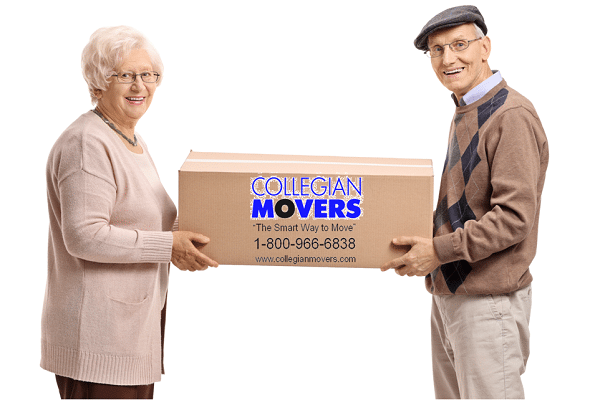 Senior Citizens Holding a Collegian Movers Moving Box