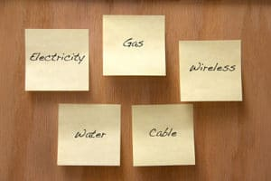 Common home utilities listed on Sticky notes