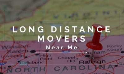 Long Distance Movers Near Me With An Blurry Graphic of An East Coast Map of USA Showing North Carolina As A Destination To Move And That We Provide Moving Services From Connecticut to North Carolina